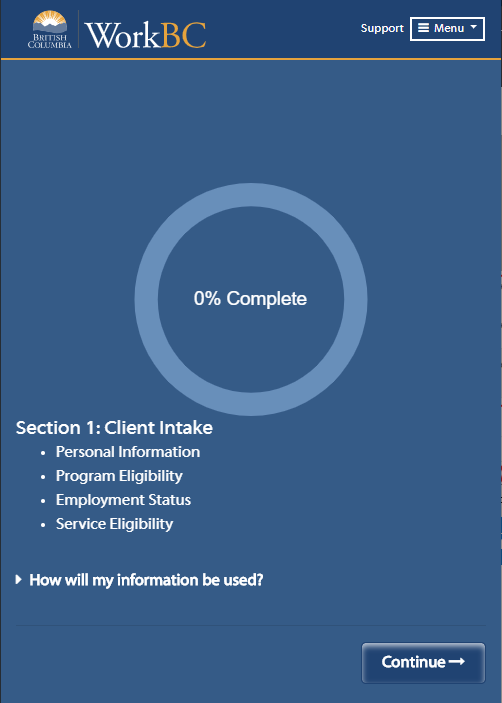 OES Section 1 Client Intake screenshot