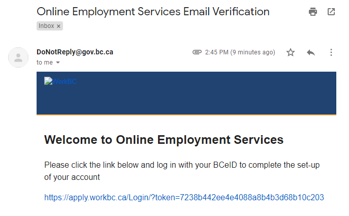 Email from OES screenshot
